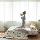 馬與狐狸的對話 Q1雙人加大床包3件組 四季磨毛布 北歐風 台灣製 棉床本舖