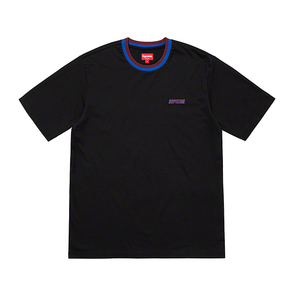 【現貨】Supreme SPLIT RIB S/S TOP TEE 撞色 小LOGO 潮流 短T 黑色 SS19KN84