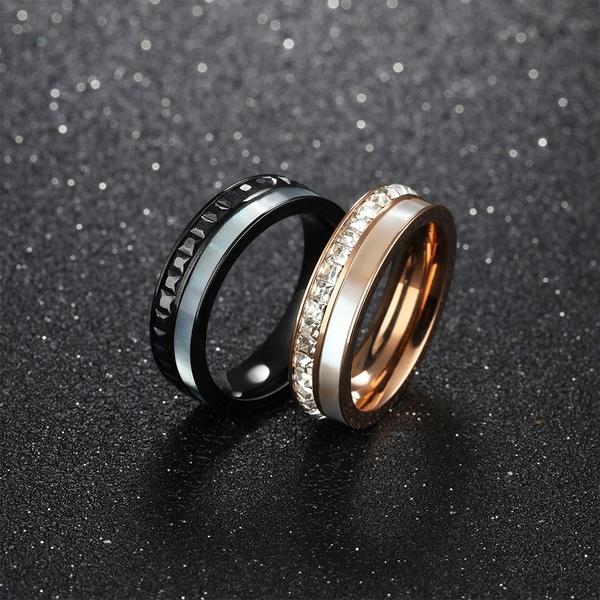 鈦鋼情侶對戒指 水鑽戒指 方鑽戒指 情人節 生日送禮物 客製化刻字 單個價【BKY596】Z.MO鈦鋼屋
