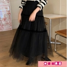 蓬蓬裙 韓國ins超仙2021年秋季新款高腰顯瘦網紗蓬蓬半身裙復古圓點長裙 源治良品