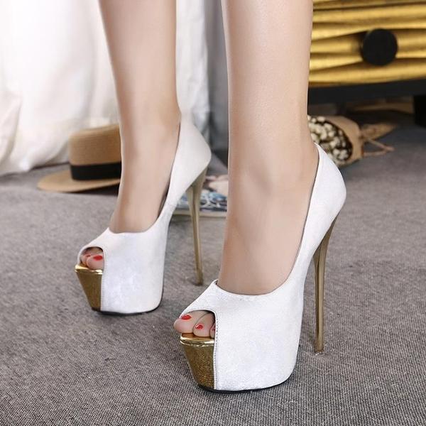 2020新品 高跟鞋 大尺碼高跟鞋40-45魚嘴鞋15CM超高跟女單鞋16cm恨天高涼鞋新款宴會