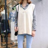 毛衣女寬鬆簡約純色百搭V領中長款針織衫韓版學生馬甲背心 蘇迪蔓