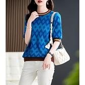 針織衫 針織上衣女清爽海洋藍 敲時髦 吸睛波浪提花 短袖針織T恤D303A快時尚