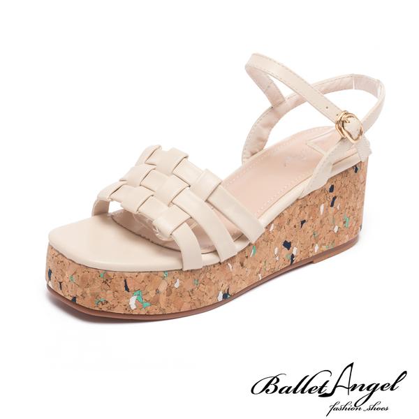 涼鞋 清涼美型編織楔型涼鞋(米)*BalletAngel【18-683-1mi】【現貨】