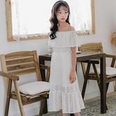 女童洋裝一字肩2021夏季新款中大兒童長款過膝洋氣白色公主裙子 幸福第一站