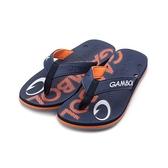 GAMBOL 印花夾腳拖鞋 藍橘 GM11303 男鞋