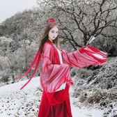 除舊迎新 魏晉風漢服女裝新款古風中國風復古漢服女款cosplay服裝古裝紅色