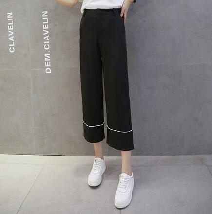 【TU04】寬褲 顯瘦九分休閒褲雪紡黑色高腰闊腿褲夏女西裝直筒褲8134