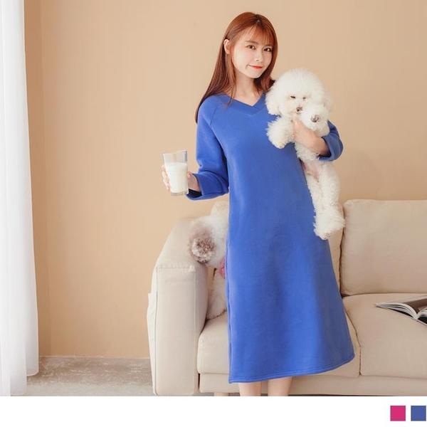 《DA8399-》純色V領厚刷毛H-LINE長洋裝 OB嚴選
