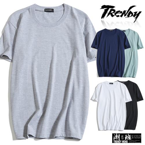 『潮段班』【HJ00DS95】M-3L素色素面棉質百搭圓領短袖上衣T恤