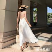 沙灘度假裙~巴厘島沙灘裙女夏2019新款顯瘦海邊度假白色仙女裙泰國吊帶連衣裙-薇格嚴選
