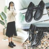 秋冬英倫學院風粗跟小皮鞋漆皮系帶復古牛津鞋圓頭黑色加絨女單鞋