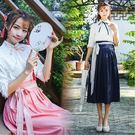 漢服 新款春夏日常女民國學生班服改良漢元素齊腰襦裙 - 歐美韓