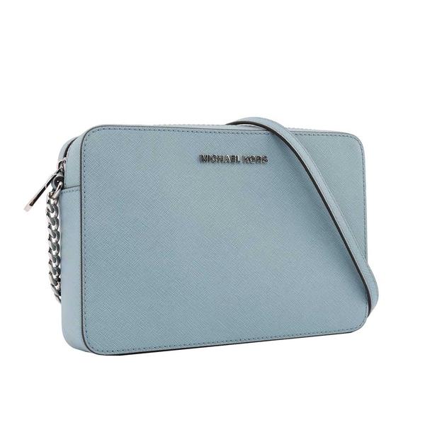 【MICHAEL KORS】金字logo方形鏈帶斜背包(粉藍) 35T8GTTC9L POWDER BL