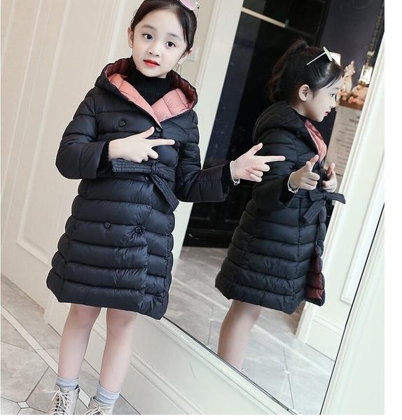 長版外套 鋪棉加厚 女童大衣 連帽外套 保暖外套 MC15604 好娃娃