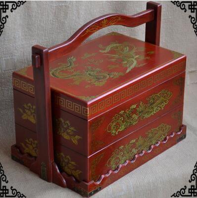 婚慶禮品籃仿古糖果盤復古手提籃結婚首飾盒傳統食盒高檔送禮花籃