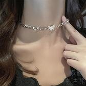 蝴蝶項鏈女鎖骨鏈脖頸鏈項圈鏈子配飾【極簡生活】