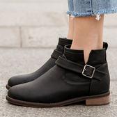 靴子 D+AF 熱銷指定.單釦環內增高軍風短靴*黑