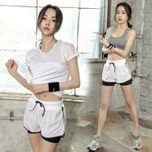 瑜伽服跑步速干夏季網紗健身服女三件套健身房運動套裝女