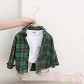 夏季薄款純棉上衣韓版兒童襯衫長袖男童格子襯衣【聚可愛】