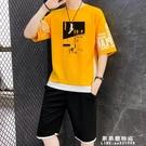 夏季男士休閒5五分褲夏裝短褲短袖一套搭配衣服潮流帥氣運動套裝【果果新品】