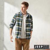 【JEEP】雙色格紋滾邊長袖襯衫(藍綠格紋)