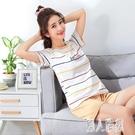 睡衣女夏季短袖短褲棉質薄款可外穿全棉夏天女士家居服兩件套裝 LR23944『麗人雅苑』