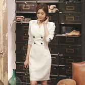 洋裝 禮服3116#氣質女神范衣服職場女裝女人味潮流優雅連身裙韓版干練ZLE501紅粉佳人