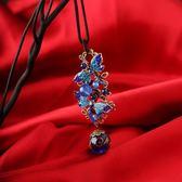 煙雨江南手工復古毛衣鏈掛飾項鏈民族風長款裝飾品景泰藍掛件女夏
