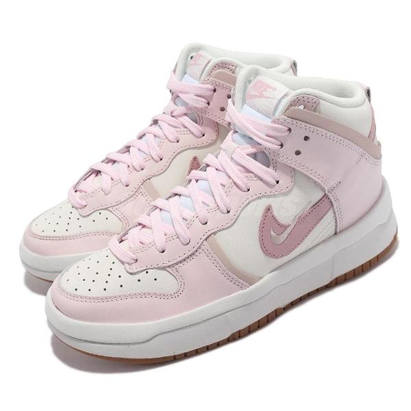 Nike 休閒鞋 Wmns Dunk High Up 白 粉紅 增高 櫻花粉 女鞋 高筒【ACS】 DH3718-102