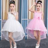 兒童禮服 夏季白色蓬蓬紗裙兒童洋氣連衣裙子花童禮服燕尾演出服