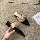 涼拖鞋 經典口碑款 蝴蝶結尖頭粗跟半拖女鞋淺口包頭拼色中跟氣質