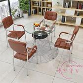 簡約現代接待洽談桌椅組合展廳售樓處休息會客區談判玻璃小圓桌子