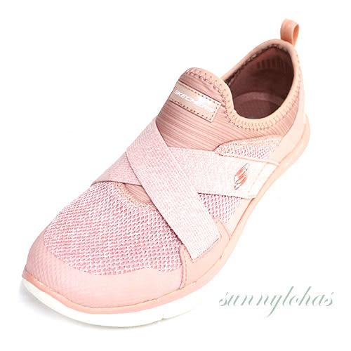 69折 SKECHERS (女)訓練鞋 Flex Appeal 2.0 運動 繃帶鞋 套入式-12752ROS粉白 [陽光樂活]