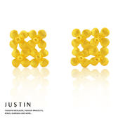 Justin金緻品 黃金耳環 花綻柔情 金飾 9999純金耳環 花朵造型 耳環