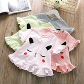 可愛女童條紋T恤夏季女寶寶木耳邊下擺t恤衫兒童短袖上衣