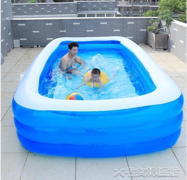 充氣泳池兒童充氣游泳池超大號家用嬰兒寶寶游泳桶加厚大型家庭小孩洗澡 大宅女韓國館YJT