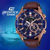 CASIO 卡西歐手錶專賣店 國隆 EDIFICE ERA-600GL-2A 多功能雙顯男錶 皮革錶帶 藍色錶面 ERA-600GL