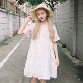 春夏女裝韓版小清新學院風中長款蕾絲吊帶洋裝顯瘦長裙 三天狂歡 八折鉅惠
