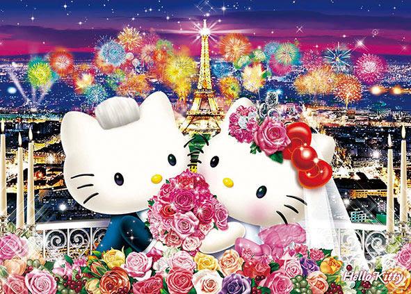 【拼圖總動員 PUZZLE STORY】巴黎婚禮  日本進口拼圖/Beverly/Hello Kitty/600P