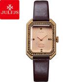 JULIUS 聚利時凡爾賽午茶復古水鑽皮帶腕錶咖啡色22 ×30mm ~JA 824E ~