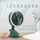 W7 LED燈夾座擺頭風扇 桌面夾式風扇 戶外風扇 充電風扇