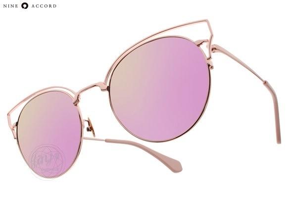 NINE ACCORD 太陽眼鏡 KISSING ORTWO C03 (玫瑰金-粉紫水銀) 貓眼造型金屬款 # 金橘眼鏡