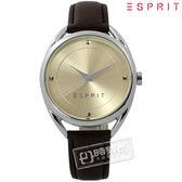 ESPRIT / ES906552003 / 簡約百搭超凡品味真皮手錶 米黃x深咖啡 36mm★加購鋼化玻璃膜★