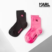 【KARL LAGERFELD】IKONIK運動休閒霓虹襪組-黑/桃粉