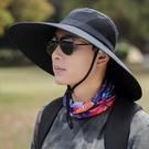 大沿漁夫帽男士帽子夏天遮陽防曬帽加大帽檐太陽帽戶外旅游釣魚帽 3C優購
