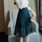 蕾絲高腰A字短裙(S-XL可選)-設計家 Q3059Q