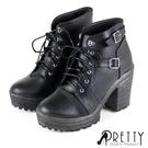 BA-27776 女款粗高跟短靴 加厚防水高台綁帶雙金屬皮釦粗高跟短靴/拳擊靴【PRETTY】