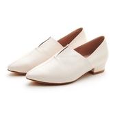 MICHELLE PARK 現代印象 尖頭微V口真皮低跟休閒女鞋-米白