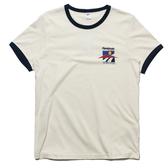 REEBOK CL HL TEE 米白 黑邊 藍紅黃小logo短袖T 男 (布魯克林) FS8819